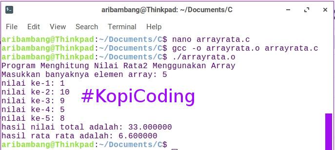 Gambar hasil compile file arrayrata.c