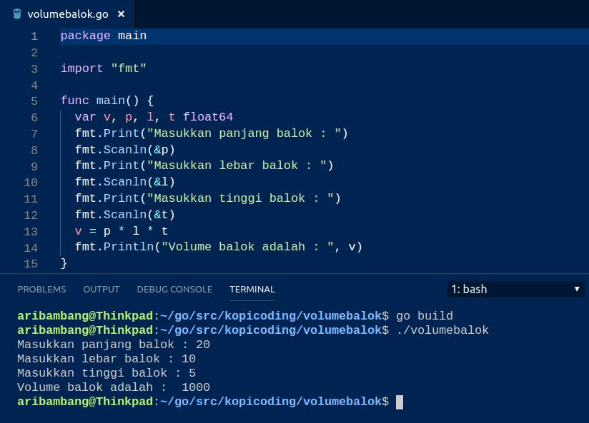 Hasil compile program menghitung volume balok