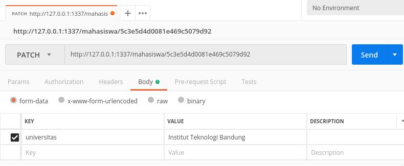 Gambar Testing Update Data dengan Postman
