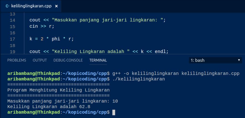 Gambar Hasil Program Menghitung Keliling Lingkaran di C++