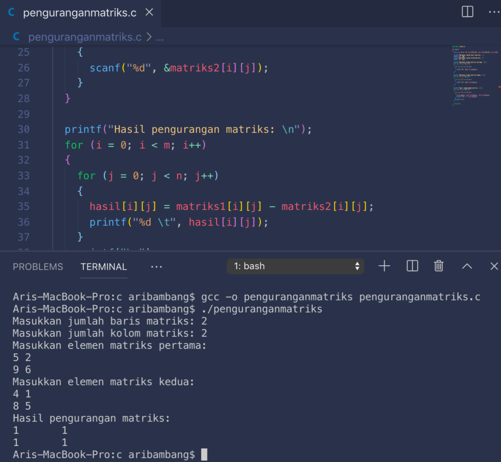 Gambar Hasil Program Pengurangan Matriks Bahasa C