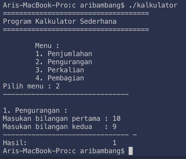 Gambar hasil pengurangan program kalulator bahasa C