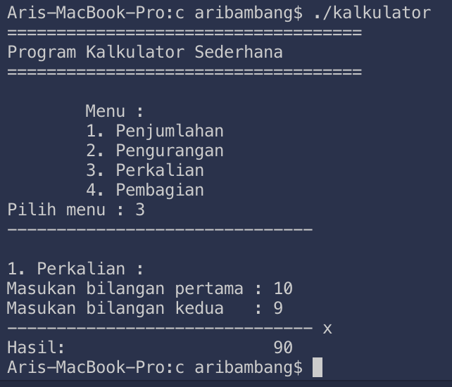 Gambar hasil perkalian program kalulator bahasa C