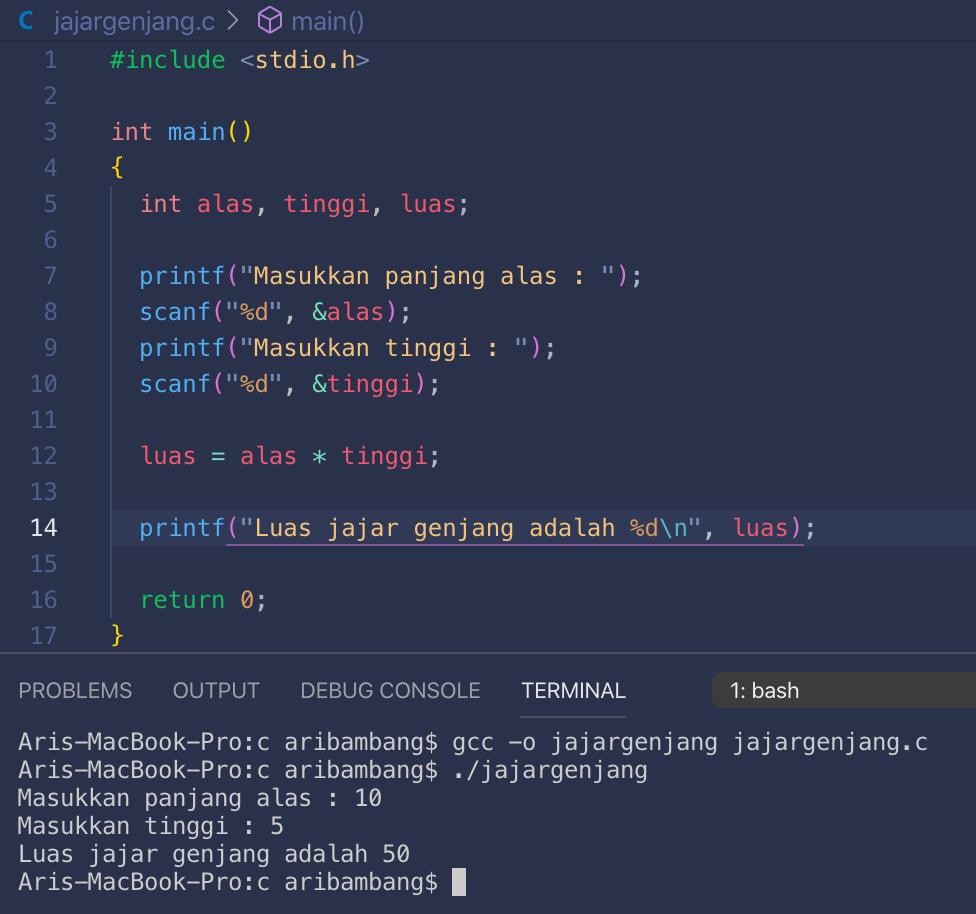 Gambar hasil program menghitung luas jajar genjang bahasa C