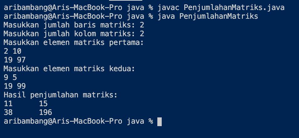 Gambar Program Penjumlahan Matriks Bahasa Java