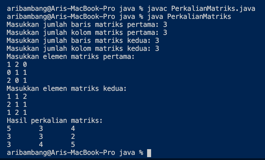 Hasil program perkalian matriks bahasa Java