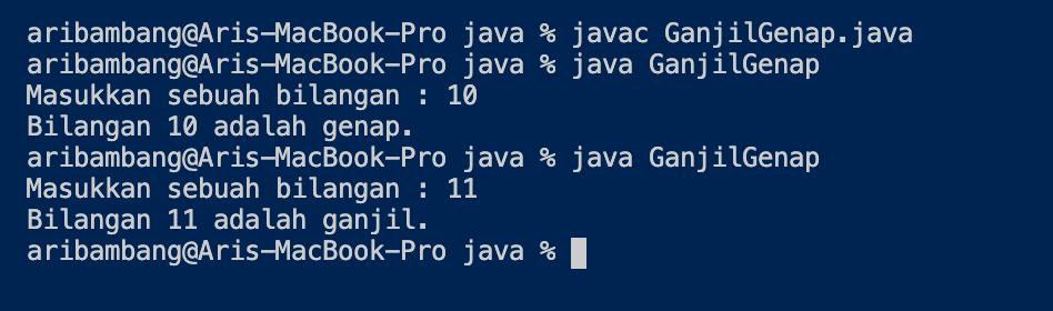 Gambar hasil program menentukan ganjil atau genap di Java