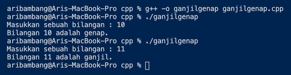 Gambar hasil program menentukan ganjil atau genap di C++
