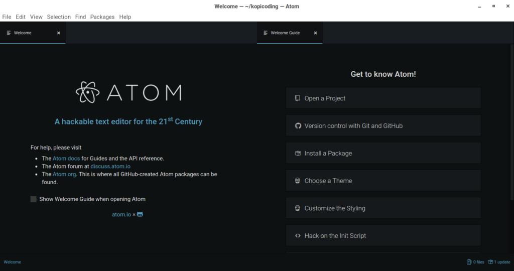 Gambar Tampilan Text Editor Atom