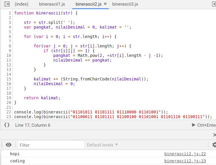 Gambar Hasil Compile Program Konversi Biner Ke ASCII Dengan Algoritma Pertama