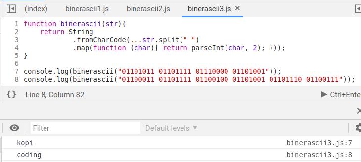 Gambar Hasil Compile Program Konversi Biner Ke ASCII Dengan Algoritma Ketiga