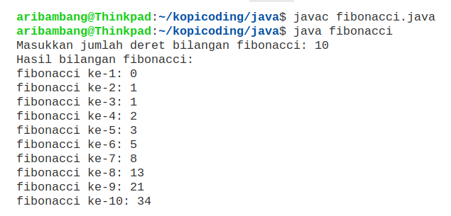 Hasil Program Fibonacci Rekursif di Java
