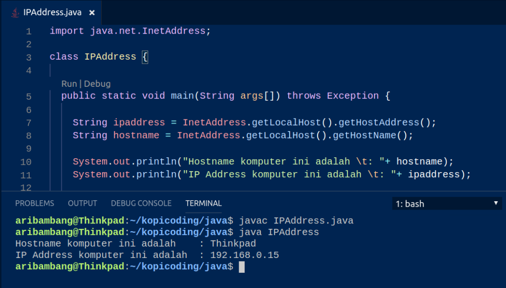 Gambar Hasil Program Menampilkan IP Address di Java