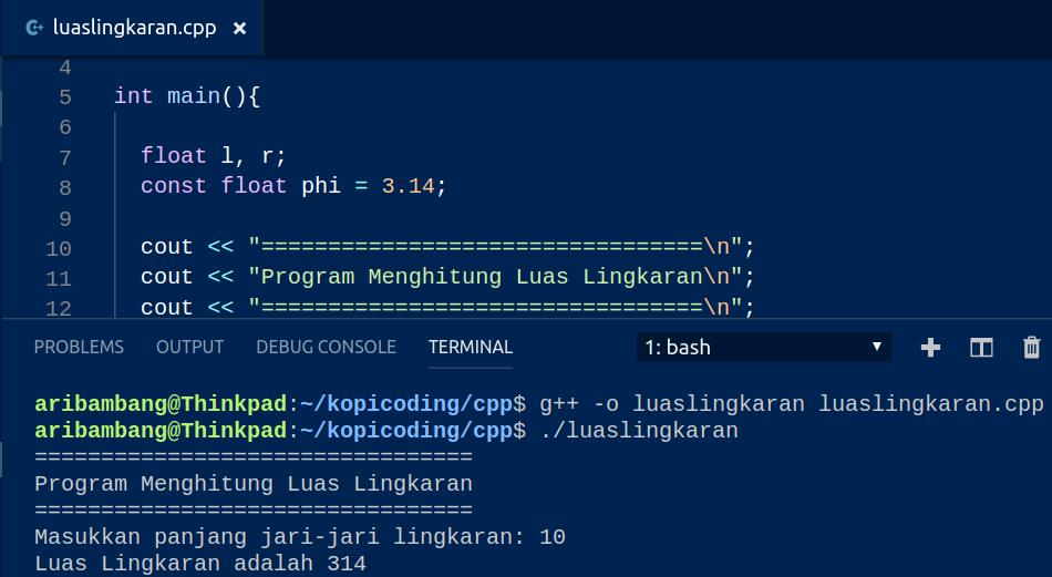 Gambar Hasil Program Menghitung Luas Lingkaran di C++