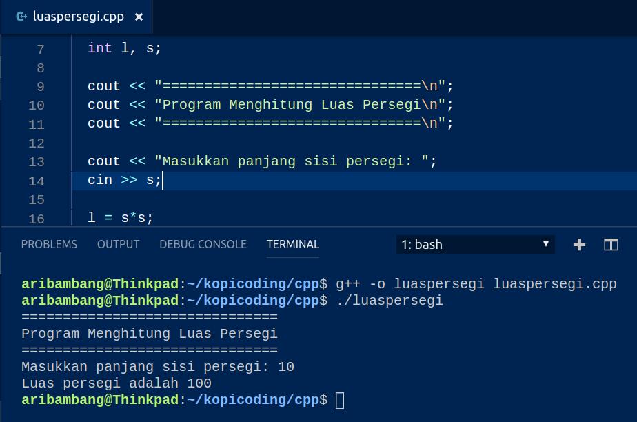 Gambar Hasil Program Menghitung Luas Persegi di C++