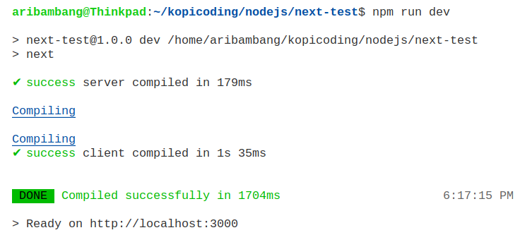 Gambar hasil menjalankan project Next.js