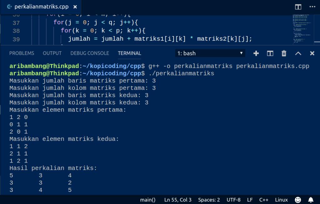 Gambar Hasil Program Perkalian Matriks Di C++
