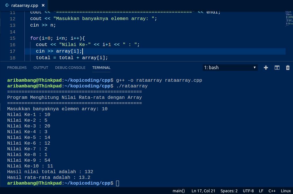 Gambar Hasil Program Menghitung Nilai Rata-rata Dengan Array di C++