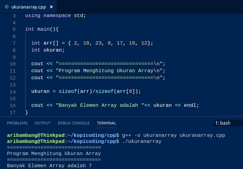 Gambar Program Menghitung Ukuran Array Di C++