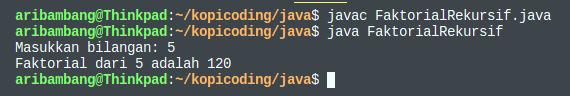 Hasil program menghitung faktorial secara rekursif di bahasa Java