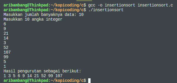 Gambar hasil program algoritma insertion sort bahasa C