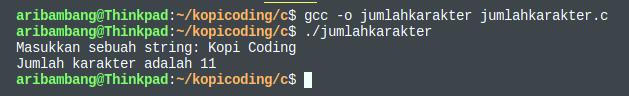 Gambar hasil program menghitung jumlah karakter bahasa C