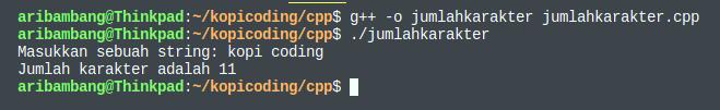 Gambar hasil program menghitung jumlah karakter dengan C++