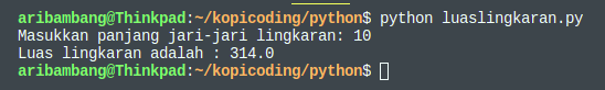 Gambar Hasil Program Menghitung Luas Lingkaran Python