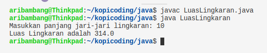 Gambar Hasil Program Menghitung Luas Lingkaran dengan Java