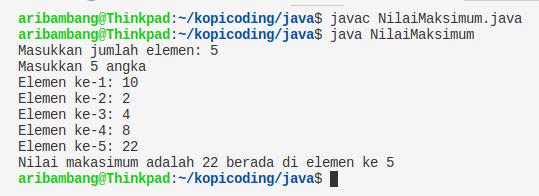 Gambar hasil program nilai maksimum array bahasa Java