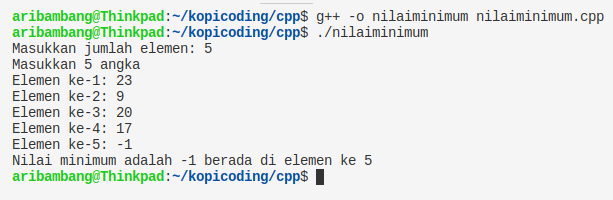 Gambar hasil program nilai minimum array bahasa C++