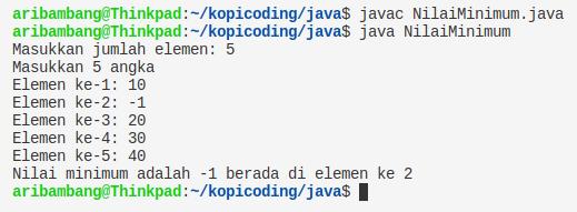 Gambar hasil program nilai minimum array bahasa Java