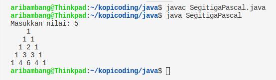 Gambar hasil program segitiga pascal Java