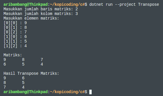 Gambar hasil program transpose matriks dengan C#