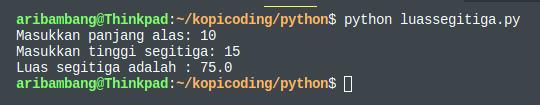 Gambar hasil menjalankan program luas segitiga bahasa python