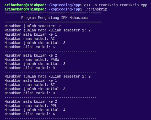 Gambar hasil program menghitung IPK Bahasa C++ saat input nilai