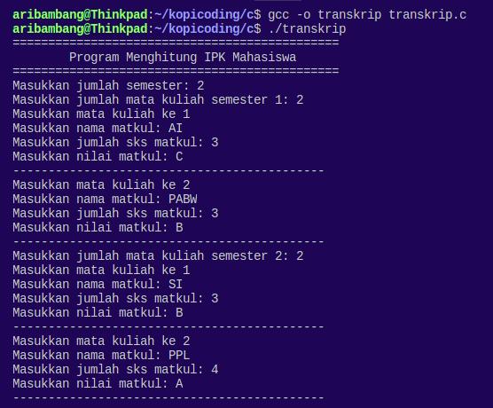 Gambar hasil program menghitung IPK Bahasa C saat input nilai