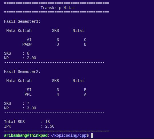 Gambar hasil program menghitung IPK Bahasa C++ saat menampilkan output