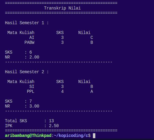 Gambar hasil program menghitung IPK Bahasa C saat menampilkan output