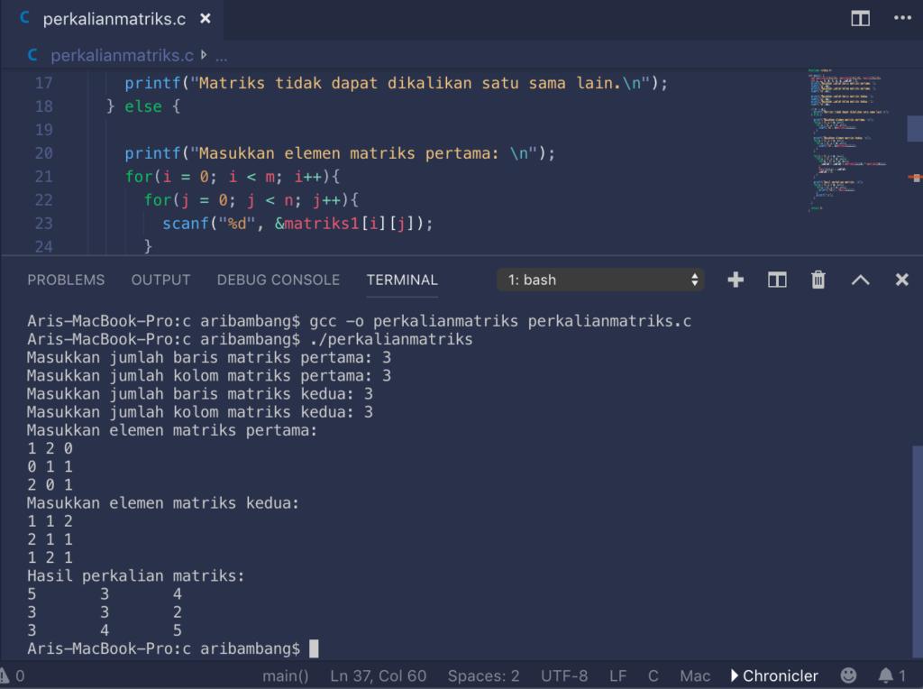 Gambar hasil program perkalian matriks bahasa C