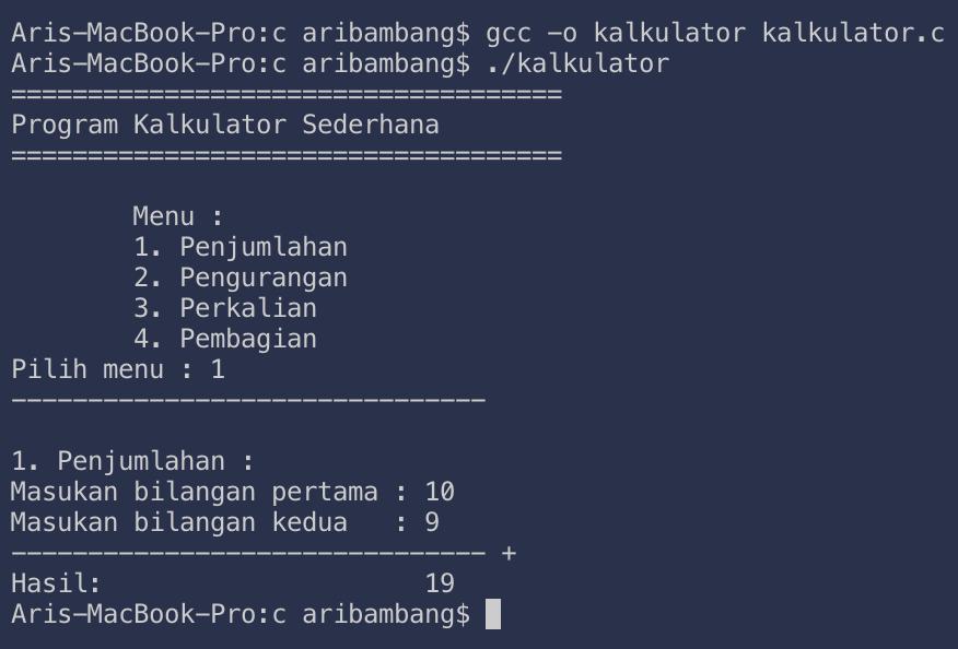 Gambar hasil penjumlahan program kalulator bahasa C