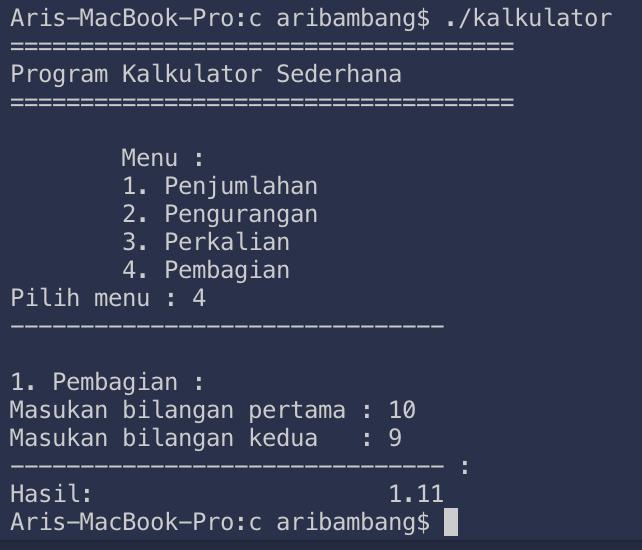 Gambar hasil pembagian program kalulator bahasa C