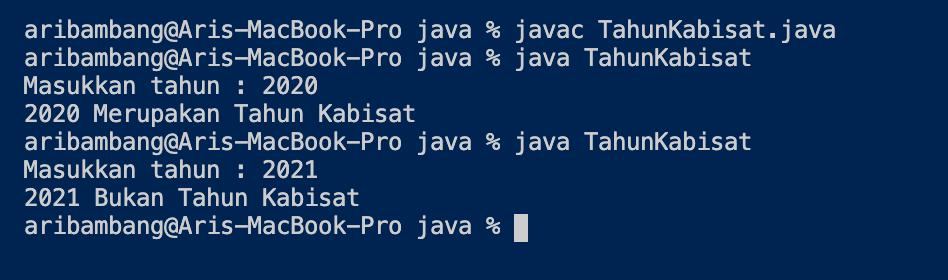 Gambar Hasil Program Menentukan Tahun Kabisat Bahasa Java