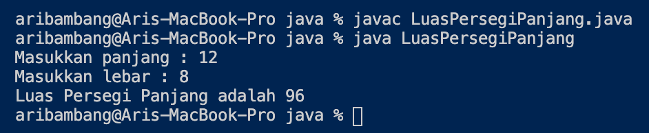 Gambar hasil program menghitung luas persegi panjang Java