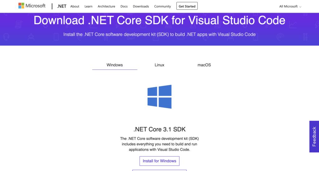 Web download .NET Core SDK
