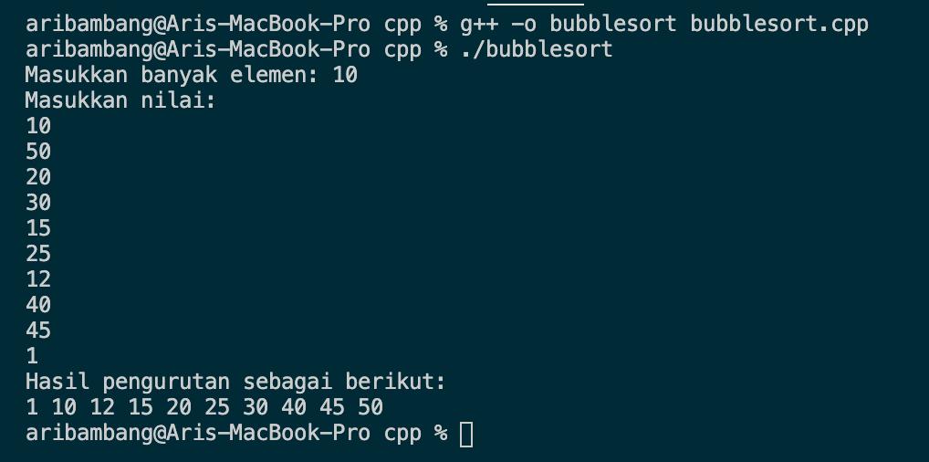 Gambar Program Algoritma Bubble Sort di Bahasa C++