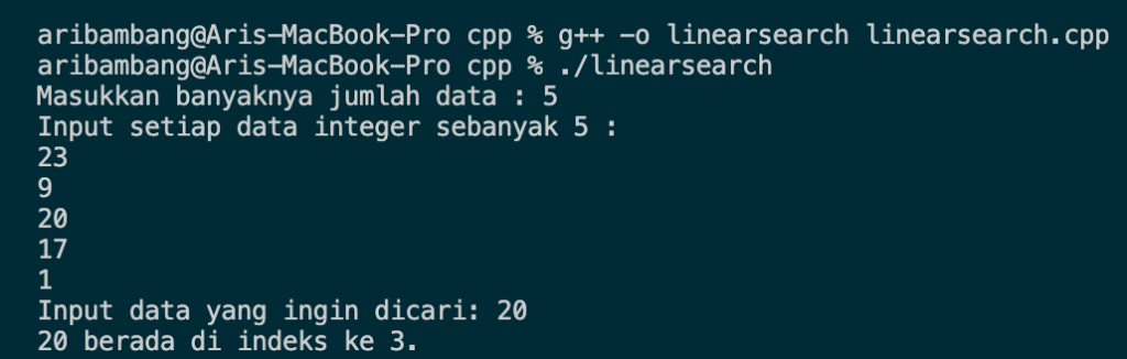 Hasil program algoritma linear search bahasa C++