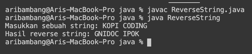Gambar hasil program membalikkan huruf dengan bahasa Java